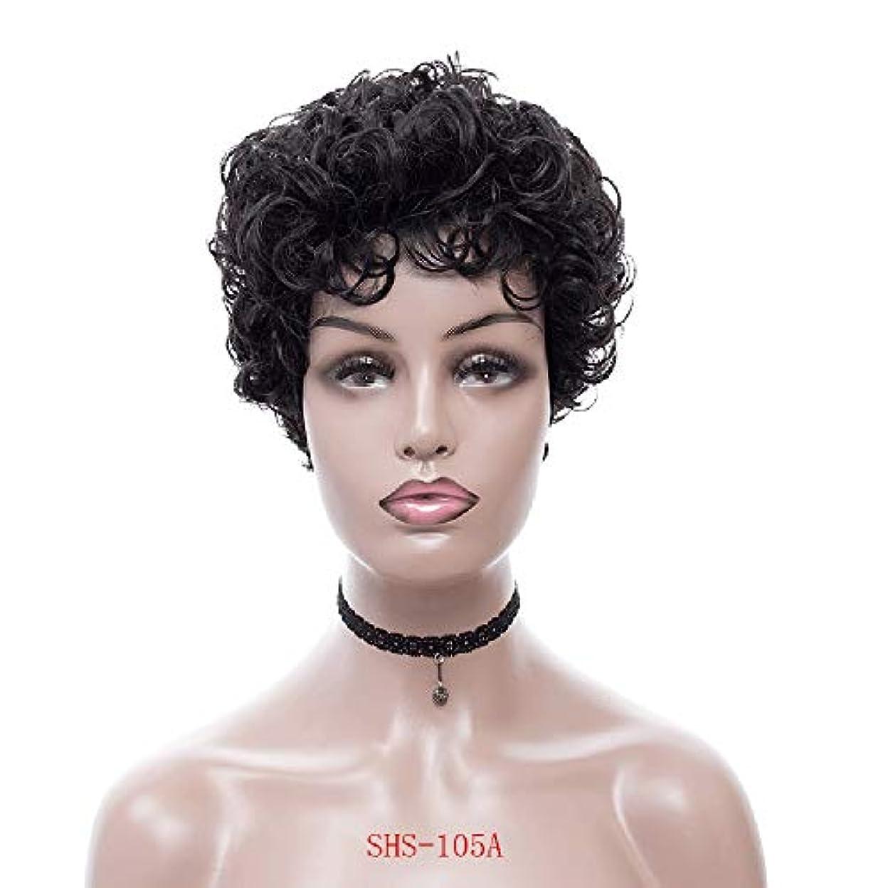 アプトとティーム大気ESTELLEF黒人女性用ショートカーリーキンキーウィッグふわふわウェーブのかかった人工毛ウィッグナチュラルウィッグ耐熱ウィッグウィッグキャップ付き