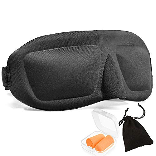 KIMIHE 睡眠 アイマスク 立体型 上質な綿100% 仮眠快眠グッズ 耳栓 収納袋付き ブラック フリーサイズ