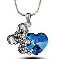 DianaL Boutique Adorable Koala Teddy Bear Heart 3D Pendant and Necklace Gift for Girls Teens Women Fashion Jewelry