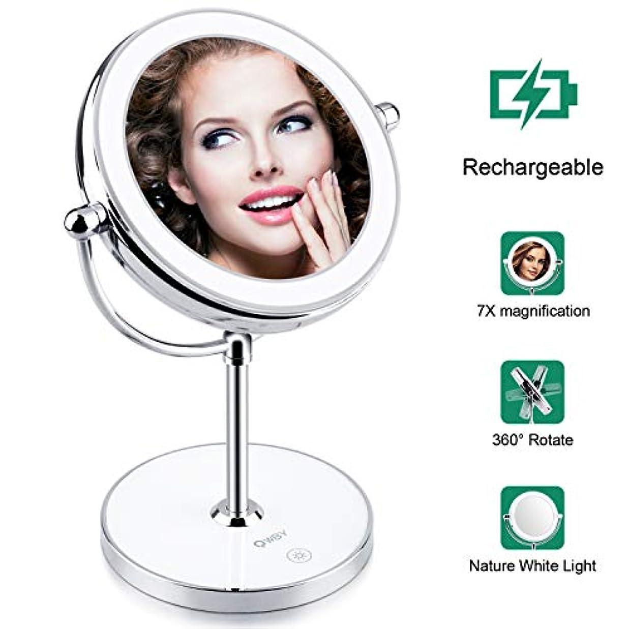 World Backyard 内蔵 充電式電池とライトで丸い形状 コードレスミラーを適用する美容化粧品 用 化粧鏡両面1X倍率を点灯。 7X