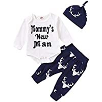 MEKILYN 2PCs Baby Deer Print Hoodies with Pocket Top + Striped Long Pants Autumn Outfit Set