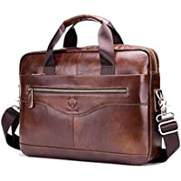 Men Leather Briefcase Bag Cross Body Handbag with Zipper for Business Travel 15.35x11.42x3.54 Inch