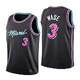 メンズドウェイン・ウェイド3#バスケットボールジャージー、マイアミヒートNBA制服スーツ、ノースリーブユニセックススウィングマン、S -XXL (Color : ブラック, Size : S)