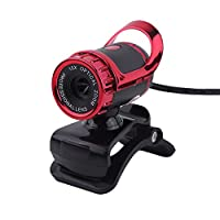 Richer-R  USB 2.0 12M Pixel Webカメラ Windows XP / Win2003 / Win7 / Win8 / Vista 32b対応 PC用 サウンド吸収マイクロフォン内蔵 クリップオン  360度調整可能なカメラ(レッド)