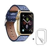 バンド 対応 Apple Watch,アップルウォッチ バンド 38mm 40mm 4ビンテージのスタイル 対応 Apple Watch バンド 本革 series 5 4 3 2 1 交換ベルト iwatch バンド コンパチブル ハンドメイド レザー ビジネススタイル、フィルム 付き (38mm 40mm, Aスタイル/ブルー)