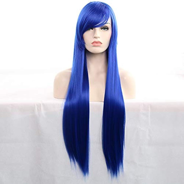 乳管理するそれぞれ女性用ロングナチュラルストレートヘアウィッグ31インチ人工毛替えウィッグハロウィンコスプレ衣装アニメパーティーウィッグ(ウィッグキャップ付き) (Color : 青)