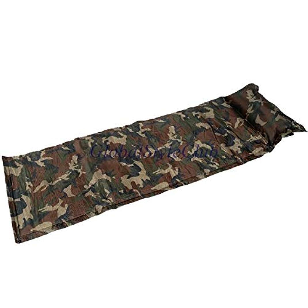 カビヒントマークされた屋外自己膨らまキャンプマットレス防湿一人キャンプマットパッド迷彩防湿テントマット付き枕