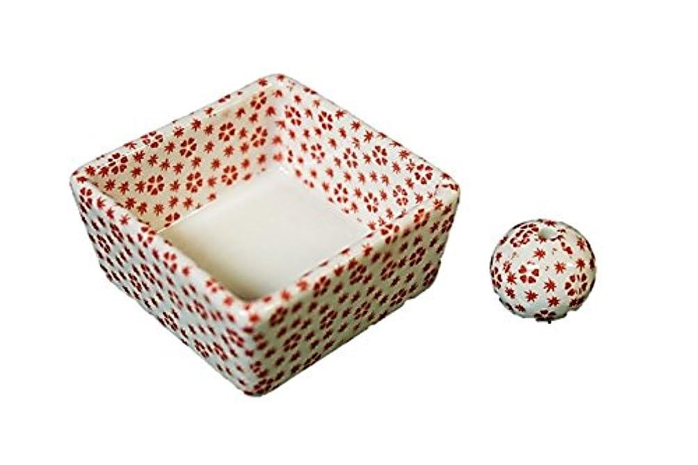 和モダン 桜小紋(赤) お香立て 陶器 角鉢 製造直売品