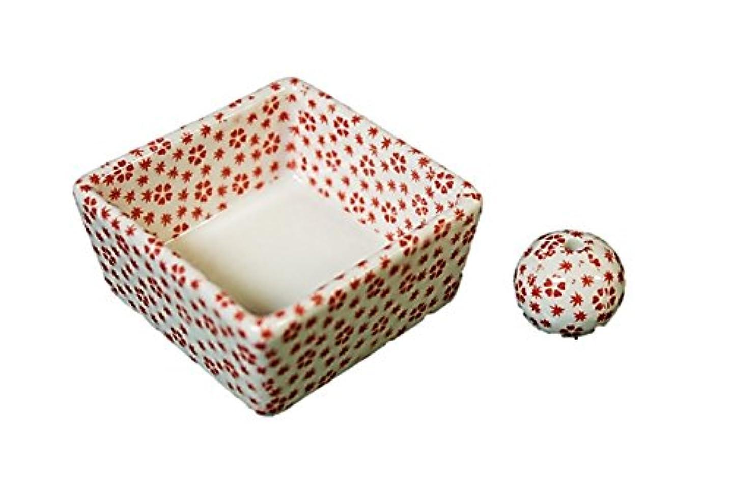 条約億苦難和モダン 桜小紋(赤) お香立て 陶器 角鉢 製造直売品