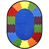 Joy Carpets Kid Essentials Early Childhood Oval Block Party Rug Multicolored 5'4 x 7'8 [並行輸入品]