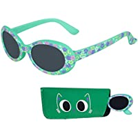 Baby Sunglasses, 100% UV Protection Infants & Toddlers Sunglasses, Smoked Lenses Reduces Glare for Ages 0-12 Month to 3 Years - Rubber Injected Frame with Matching Pouch (Green, Smoked)