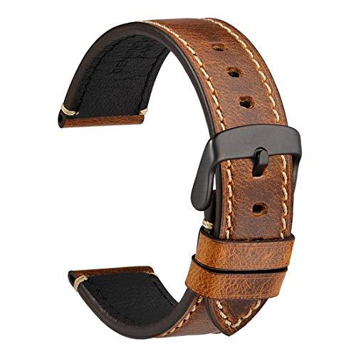 [WOCCI]時計ベルト18mm 20mm 22mm 24mm替えベルト レトロ本革腕時計バンド