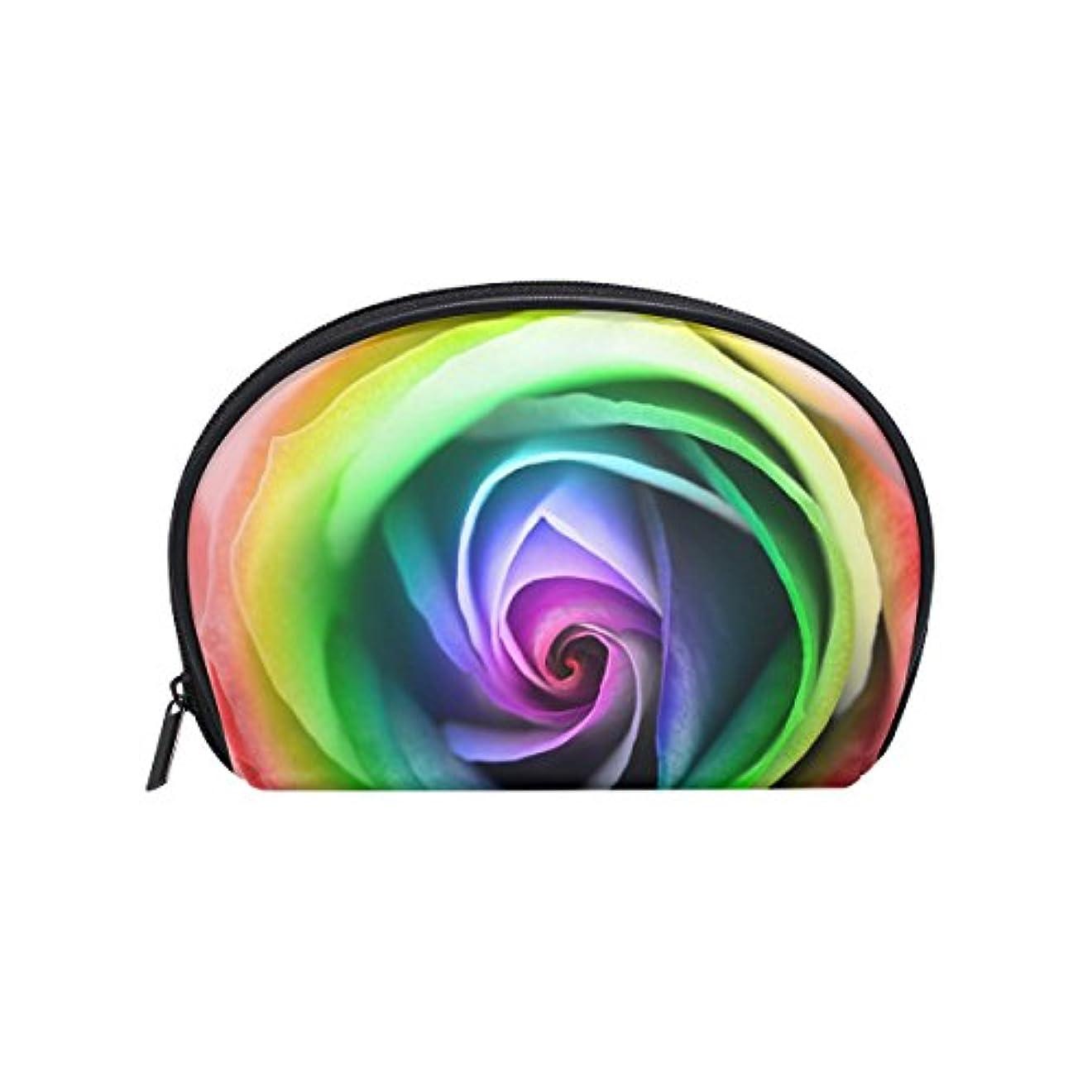 寂しい受取人挑発するALAZA レインボーローズ 半月 化粧品 メイク トイレタリーバッグ ポーチ 旅行ハンディ財布オーガナイザーバッグ