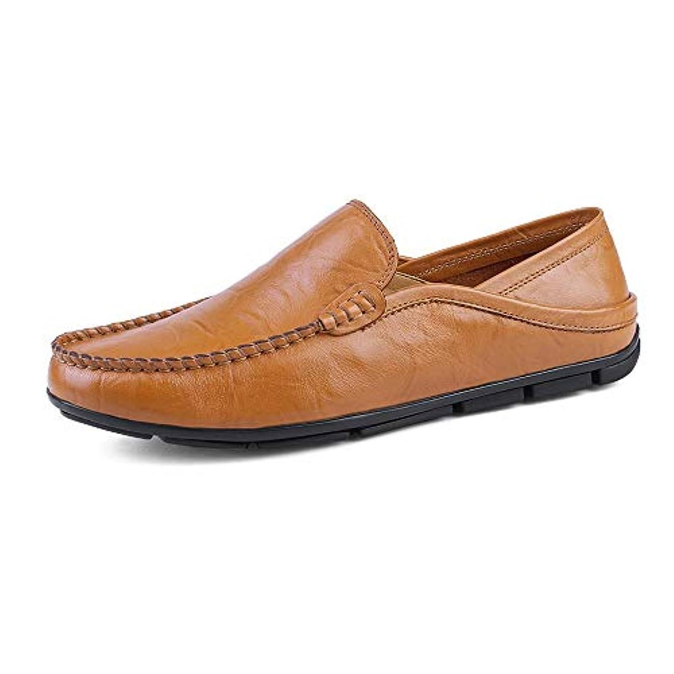 下線ハリケーン事務所メンズ 革靴 ファッション  モカシン ウェーブソール ソフト 軽量 スリッポン スリップ  ドライビングローファー 通気 (Color : 黄, サイズ : 29 CM)