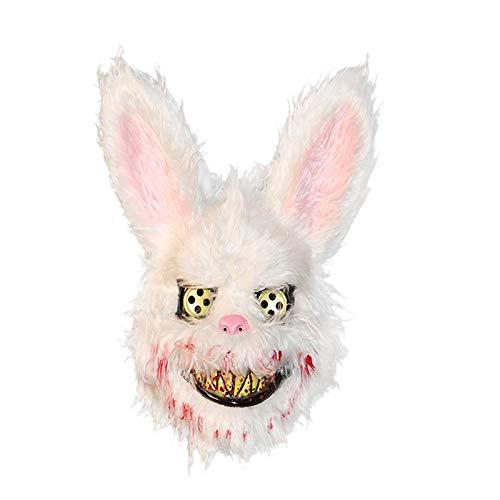 Jarhit ハロウィンのマスク 血まみれのキラー ウサギのマスク ハロウィンプラッシュ コスプレの恐怖マスク 子供と大人向けパーティー用品 装飾 怖い小道具