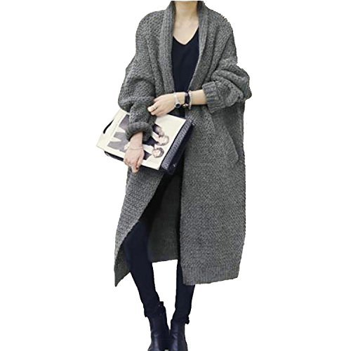 G-raphy レディース カーディガン セーター  ニット  秋冬  ゆたり  アリクリ ロング  コート  韓国風  フリーサイズ (グレー)