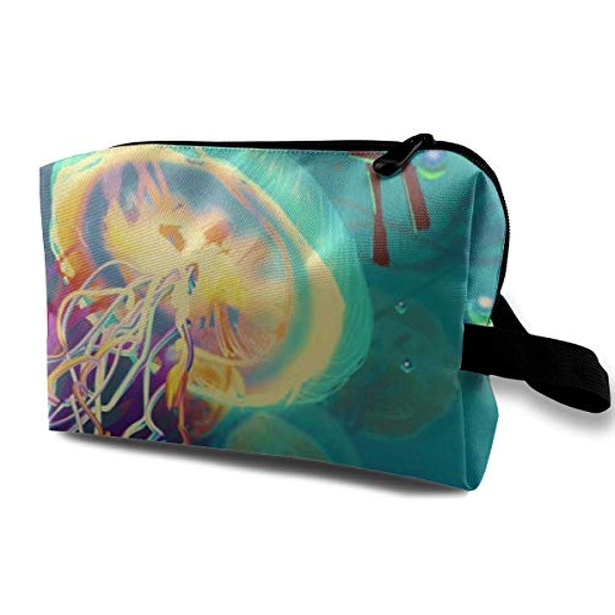 取り出すディスコ著名なColorful Jellyfish 収納ポーチ 化粧ポーチ 大容量 軽量 耐久性 ハンドル付持ち運び便利。入れ 自宅?出張?旅行?アウトドア撮影などに対応。メンズ レディース トラベルグッズ