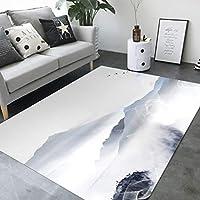 中華スタイルの墨塗りカーペット、環境に優しい印刷と染色、軟水吸収、滑り止め、クロークカーペット、寝室のマット、寝室滑り止めカーペット、リビングルームのカーペット,a2,S