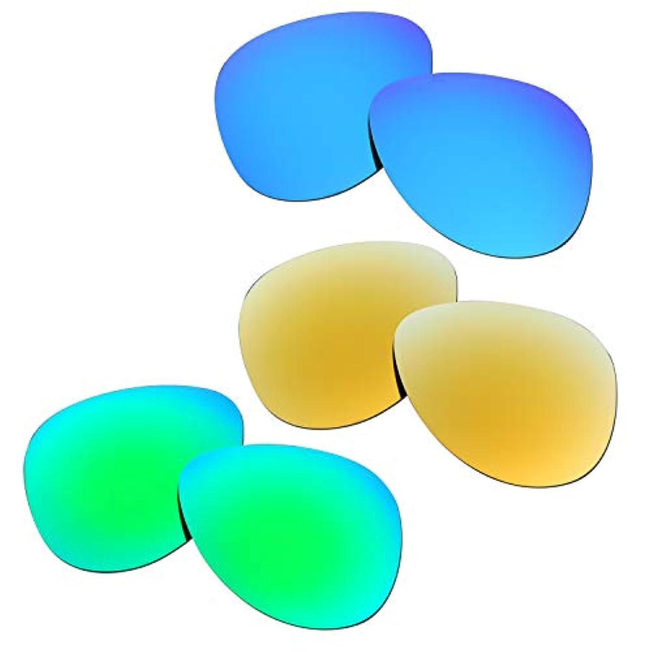 見習い優れた鎮静剤SOODASE 為に Oakley Elmont Large サングラス ブルー/きんいろ/グリーン 偏光交換使用するレンズ