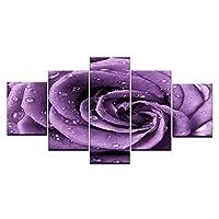 Ojilkt 5ピース壁アート画像キャンバス絵画家の装飾写真プリント紫のバラの花と露ホームオフィスアートワーク絵画-Size3-フレームレス