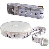 巻尺 巻き尺 オートメジャー グラスファイバーテープ リトラクタブル 洋裁、手芸、身体のサイズ 測定用 両面印刷 テープメジャー付き 1.5センチメートル/60インチ eZAKKA  (ホワイト)