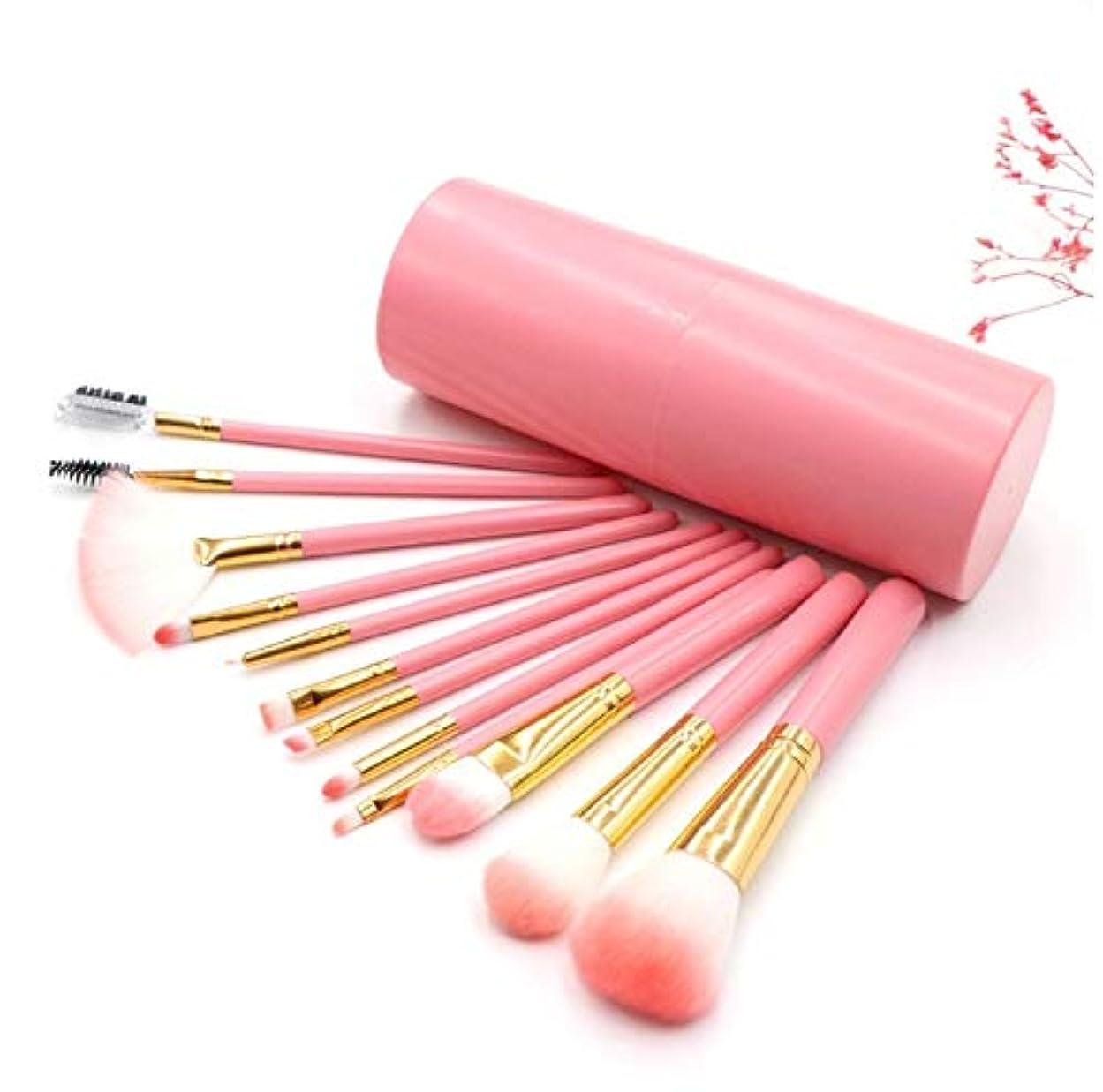 意見現実的震える化粧ブラシセット、ピンク12化粧ブラシバケツブラシセットアイシャドウブラシリップブラシ美容化粧道具