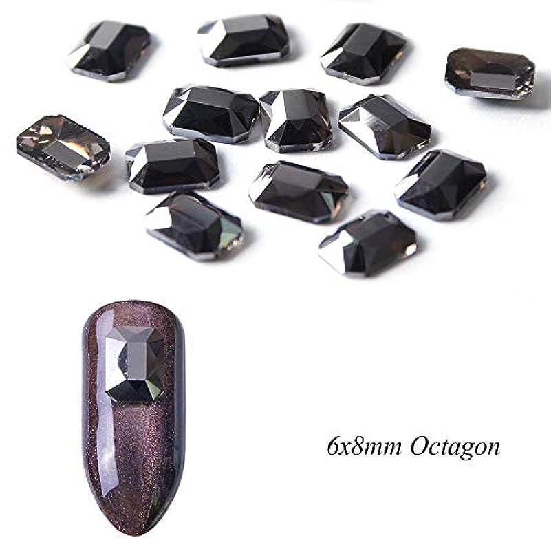 クローン軽減オズワルド10ピースブラックマルチサイズフラットボトムネイルラインストーンクリスタルストラスネイルジュエリー宝石3dマニキュアストーンネイルアート装飾SA724 6×8ミリメートルオクタゴン
