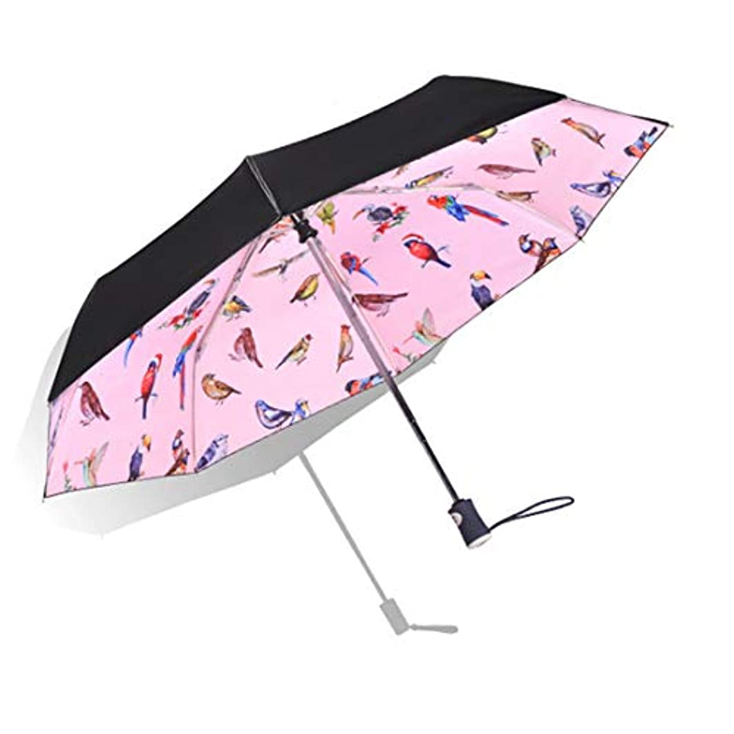 罰キュービック出身地HOHYLLYA 鳥のパターンピンク日傘女性の屋外UV保護防風防水旅行傘折りたたみ傘ポータブル日傘 sunshade (色 : ピンク)