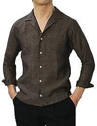 GIANNETTO リネン オープンカラー 長袖 開襟シャツ