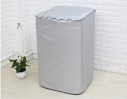 チャミ 洗濯機カバー 全自動式洗濯機 防水 防日焼け 防塵 ファスナー開閉式 屋外 外置き シルバー (53*55*88cm)