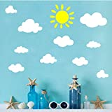 Sun and Clouds Wall Decals Wall Stickers Peel White Clouds Sky Wall Decals Easy to Apply and Removable Baby Nursery Room Wall