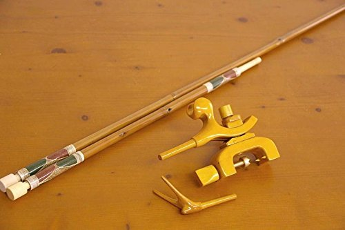 竹製竿掛け 1本半物 + 銘木弓型万力セット [40061]