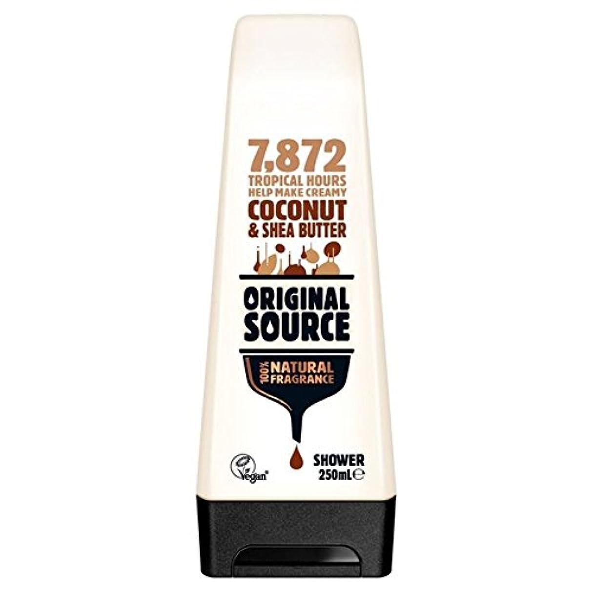 強調する順応性バイソン元のソース保湿ココナッツ&シアバターシャワージェル250ミリリットル x4 - Original Source Moisturising Coconut & Shea Butter Shower Gel 250ml (Pack...