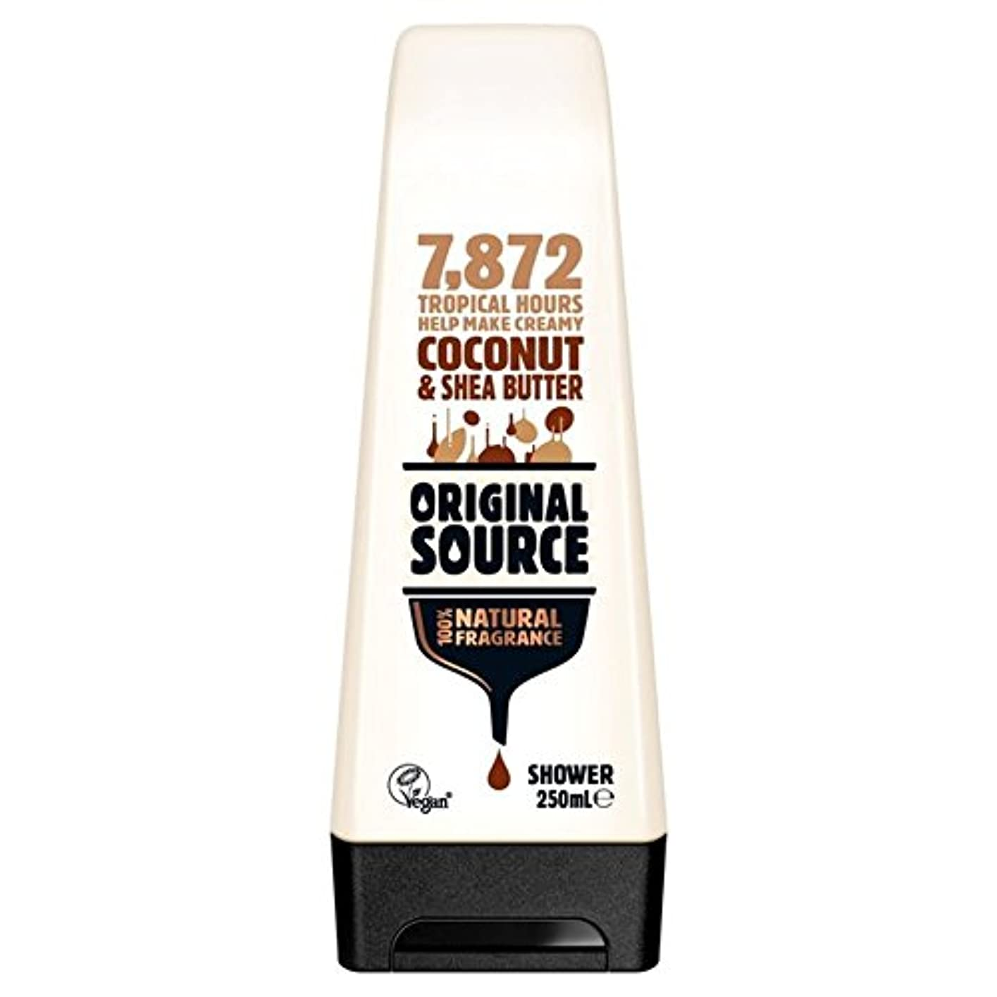 証人キリン楽な元のソース保湿ココナッツ&シアバターシャワージェル250ミリリットル x4 - Original Source Moisturising Coconut & Shea Butter Shower Gel 250ml (Pack...