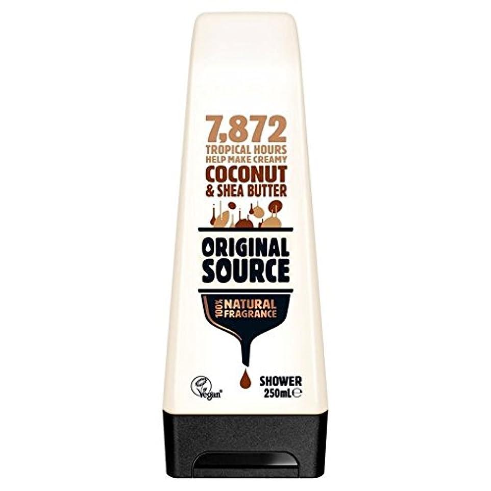 普及フェミニンむさぼり食う元のソース保湿ココナッツ&シアバターシャワージェル250ミリリットル x4 - Original Source Moisturising Coconut & Shea Butter Shower Gel 250ml (Pack...