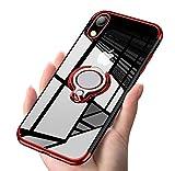 iPhone XR ケース リング 透明 磁気カーマウントホルダー スタンド メッキ柔らかい殻 ...