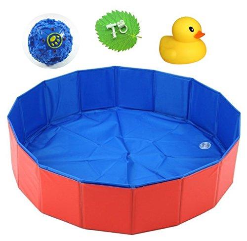 【ELEEJE】 ペット用 プール 犬 と 猫 の バスグッズ 小型犬 ・ 中型犬 ・ 大型犬 用 、 赤ちゃん の 水遊び にも使える 折り畳み式プール Lサイズ ( 160㎝ )