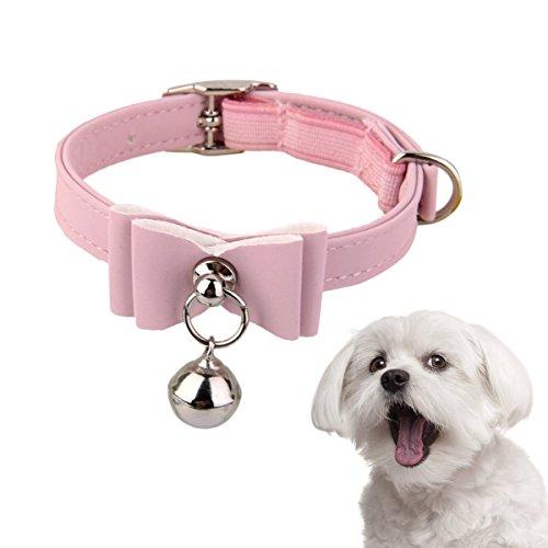 ペット用首輪 猫用首輪 調節可能な小型犬用首輪 可愛い蝶結びのおしゃれ飾り 鈴付ピンク