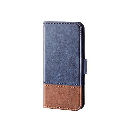 エレコム iPod Touch用 ソフトレザーカバー/ツートンタイプ  ブルー×ブラウン  AVA-T17PLFDTBU
