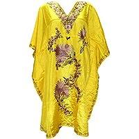 Creativegifts Kashmiri Embroidered Long Kaftan Maxi Dress Beach Cover up for Women Plus Size B06XF3GH9J