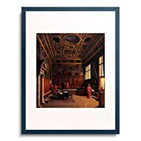 Hansen, Heinrich,1821-1890 「Grand Council Hall of the Doge's Palace in Venice.」 額装アート作品