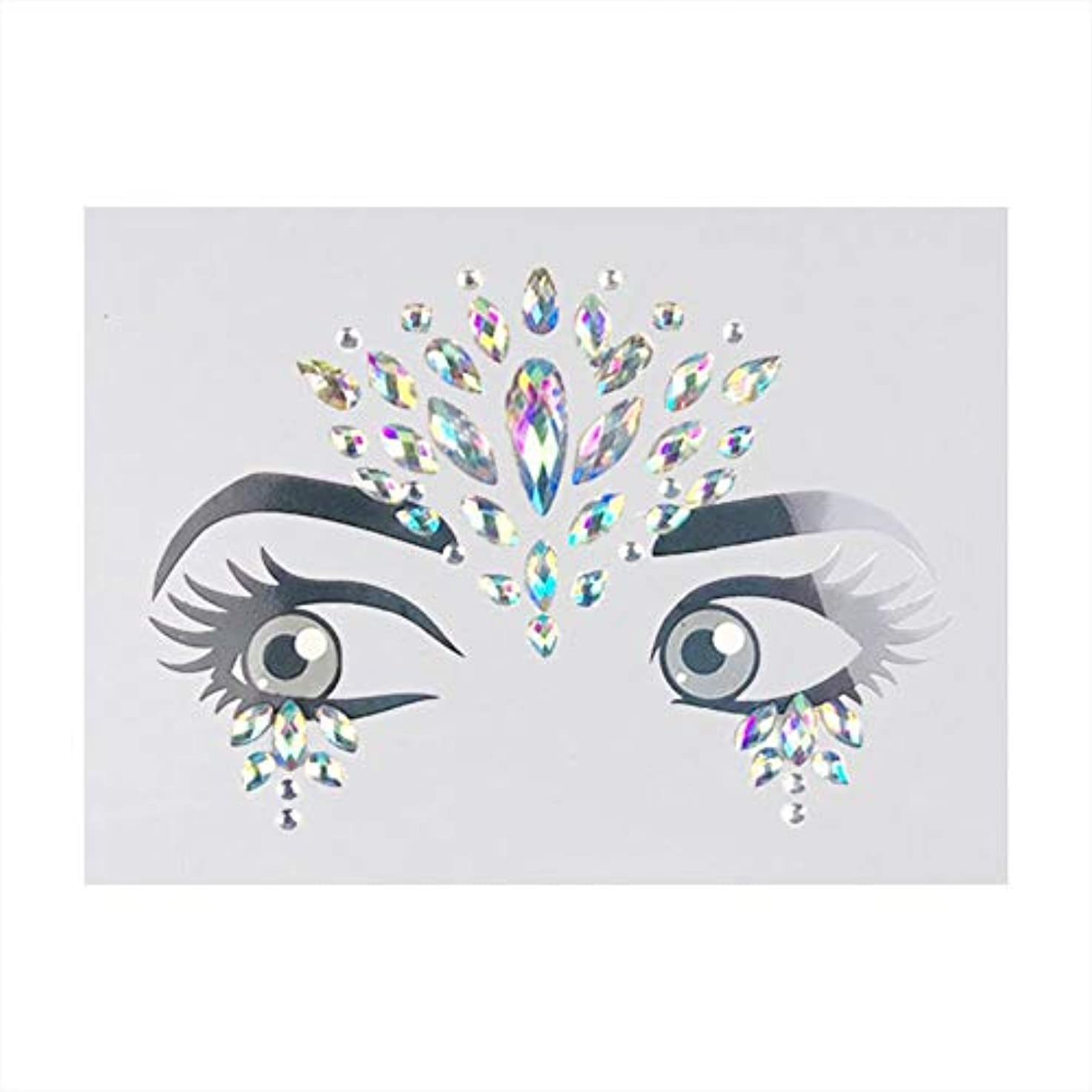 ラインストーン 顔ステッカー自己粘着性3Dフェイスステッカー 無毒アートシールパーティー 装飾