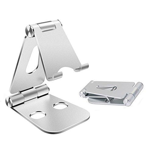 スマホ & タブレット スタンド 折り畳み式 角度調整可能 金属材料 スマホ充電ができる、約4-13インチのスマホ タブレットに適用 (シルバー)