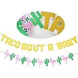 Taco Bout A Baby ゴールドグリッターバナーサイン サボテンフラミンゴガーランド メキシコのフィエスタテーマのベビーシャワー 1歳の誕生日パーティーデコレーション