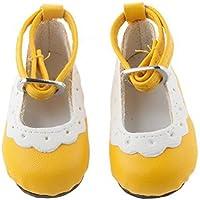 ノーブランド品 2足 1/4 BJD 人形の靴 シューズ ラウンド トウ フラット アンクル ストラップ 素晴らしい 装飾品 礼物 全8色選べ - 黄