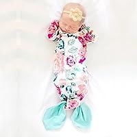 新生児赤ちゃんSleepingバッグ花柄マーメイドテールNightgowns春夏ベビーガールズウェアラブルおくるみラップブランケットコットンベビーパジャマ( S )
