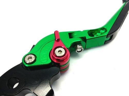 JPF-145 ビレット折り畳み式のレバーセット (ブレーキレバー&クラッチレバー) 6段階調整 Kawasaki カワサキ NINJA 400R 2011-グリーン