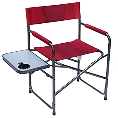 PORTAL Folding Director's Chair Portable Outdoor Camping Chair with Side Table, Red