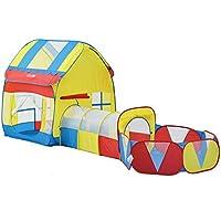 子供の遊びのテントトンネル赤ちゃん遊び家屋内遊園地簡単な折り畳みクロール (Color : Blue- Red, Size : 140 * 120 * 370cm)