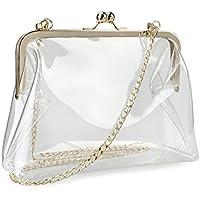 Clear Transparent PVC Kiss Lock Chain Cross Body Bag Womens Clutch